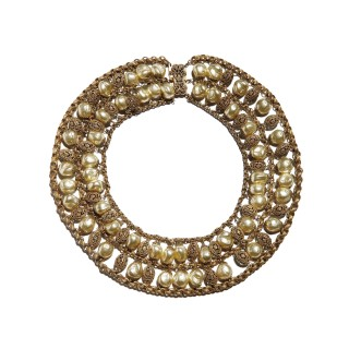 Vintage Miriam Haskell filigree necklace designed by Frank Hess, c. 1950