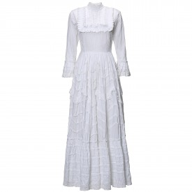 Vintage White cotton and lace dress, 1970s