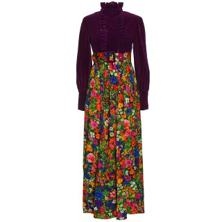 Vintage Velvet and floral-print maxi dress, 1970s