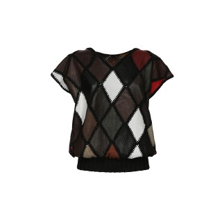 Vintage Leather Patchwork top, 1980s