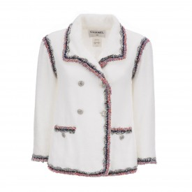 Chanel White Terry Cloth Blazer, 2000s