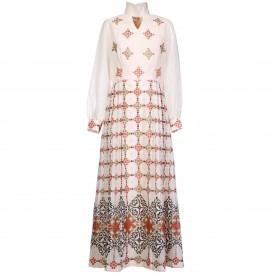 vintage White Silk Screen print dress, 1970s