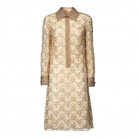 Vintage Gold Embroidered shirtdress, 1970s