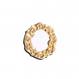 Ugo Correani round mirror pin, c. 1980