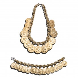 Versace coin necklace & bracelet set Ugo Correani
