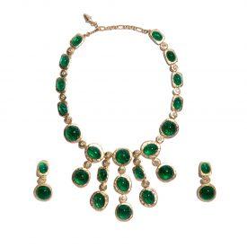 Kenneth Jay Lane cascade necklace and pendant earring set, 2000s | La DoubleJ 1