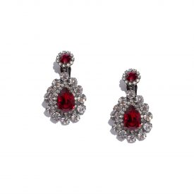 Kenneth Jay Lane rhinestone red drop earrings, 2000s_1